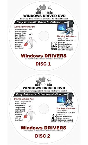 2020 Automatic Driver Recovery [Disc 1 & Disc 2] Drivers for Windows 10, 8.1, 7, Vista, XP Supports Dell HP Gateway Toshiba Gateway Acer Asus Samsung MSI Lenovo Sony IBM Compaq eMachines