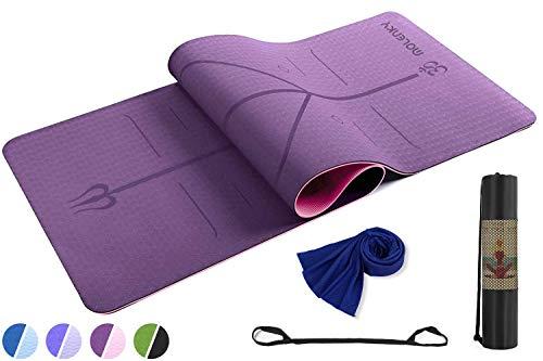 Molenky Esterilla Yoga, Esterilla Deporte Antideslizante, Toalla de enfriamiento, Yoga Esterilla Pilates con Sistema de Alineación y Marcados, Colchoneta Yoga, para Pilates,Fitness