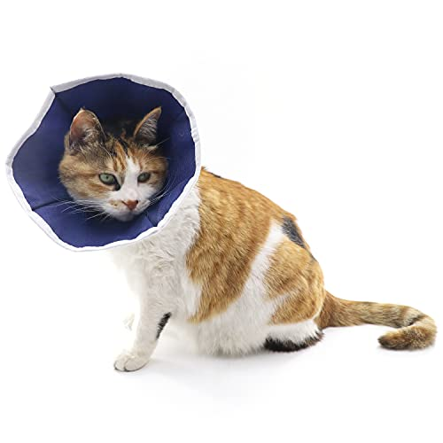 QIYADIN Soft Cat Recovery Collar Cat Cone E Collar Nonwoven Fabric Elizabethan Collar Loops-Protective Wound Healing Specially Designed for Cats and Puppies - Easy to Eat and Drink (S)