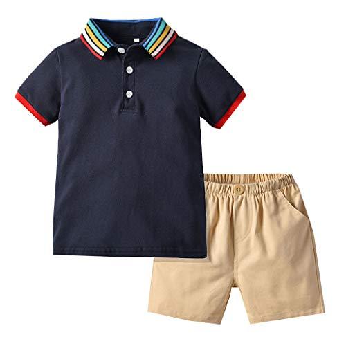 Julhold Kleinkind Baby Junge Mode Gentleman Regenbogen Baumwolle T-Shirt Tops + Solid Shorts Kleidung Outfit 0-4 Jahre