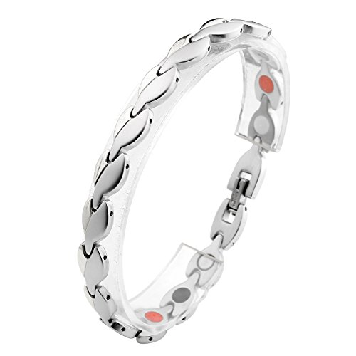 Zysta Schmuck Damen Edelstahl Armband Magnetarmband glänzenden Blättern Form Link Gesundheit Magnet Partnerarmbaender Damenarmband Armreif (Farbe:Silber)