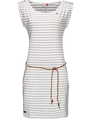 Ragwear Damen Kleid Dress Sommerkleid Jerseykleid Freizeitkleid Strandkleid Chego Weiß Gr. XS
