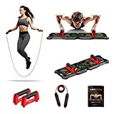Fusion Motion Push Up Board System with Color-Coded Pushup Handles & Weighted Adjustable Jump Rope - Fitness Strength Training Exercise Equipment Portable Home Gym Works Chest Shoulders Triceps Back