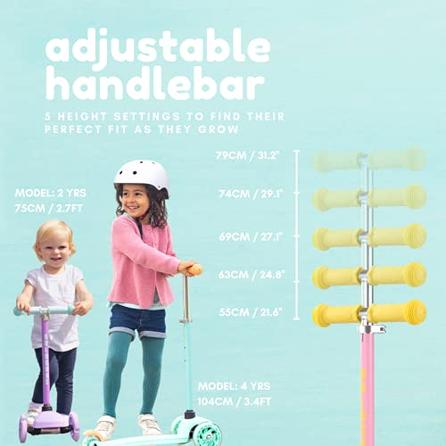 BOLDCUBE Teeny 3 Wheel Tri Scooter - ULTRA Lightweight 1.8kg - For Ages 2-6 Years Old - Button Height Adjustable Stem - Travel Friendly - My First Scooter for Little Kids (Blue!)