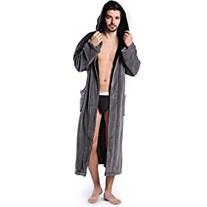 Hooded Men's Grey Soft Spa Long Bathrobe,Comfy Full Length Warm Nightdress