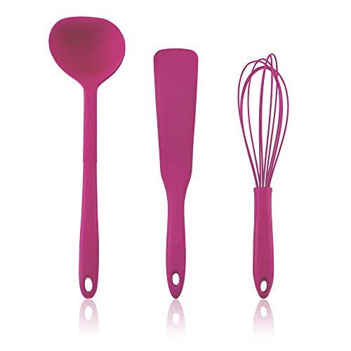 Kochblume Pfannkuchen Set | Schöpfkelle L, Pfannenspatel, Schneebesen L | in der pinken Box (pink)