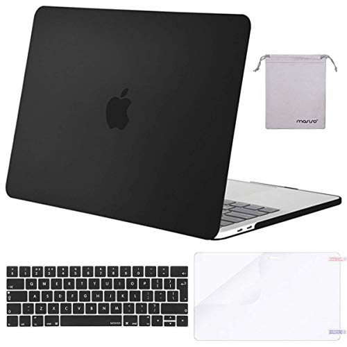 MOSISO MacBook Pro 15 inch Case 2019 2018 2017 2016 Release A1990/A1707, Plastic Hard Shell & Keyboard Cover & Screen Protector & Storage Bag Compatible with Mac Pro 15 Touch Bar, Black
