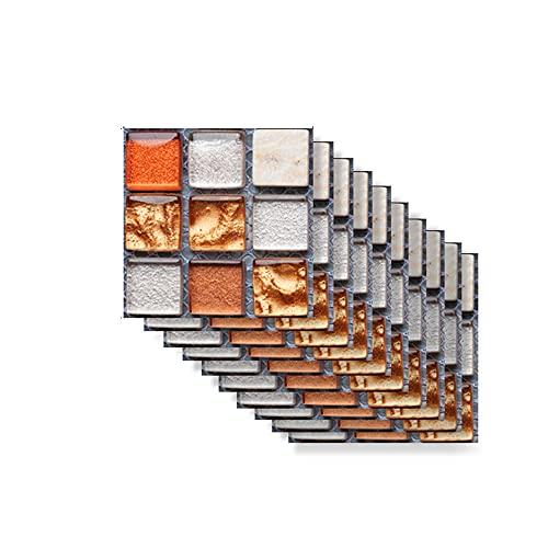 Hiser Rectángulo Adhesivos Decorativos Azulejos Pegatinas para Baldosas del Baño, Mármol 3D Mosaico Estilo Cocina Resistente al Agua Pegatina de Pared, 10x10cm (Naranja Cristal,10Piezas)