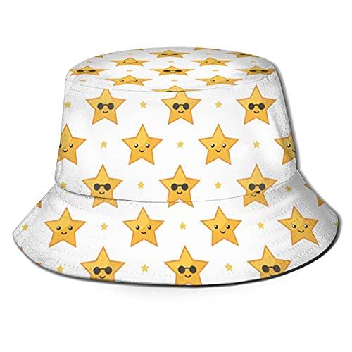 AOOEDM Gafas de Sol Estrella Divertido Amarillo Redondo Unisex Estampado Sombrero de Pescador Sombreros de Pescador Sombrero de Pesca Gorra Plegable Reversible de Verano Mujeres Hombres Sombrero par