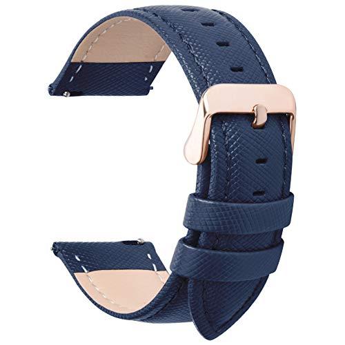 Fullmosa Cinturino per Orologio, Cinturini in Pelle 22mm, Cinturino Orologio per Samsung Gear S3 Classic/Frontier/Huawei Watch GT/GT 2 46mm / Moto 360 2nd Gen 46mm, per Uomo/Donna, 22mm Blu Scuro