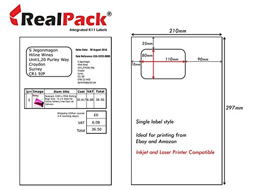 110 mm x 80 mm Integrierte Etiketten, selbstklebende Adresspapier A4 X 1000 Adresspapier, kompatibel mit Tintenstrahl- und Laserdruckern – Diamantverpackung