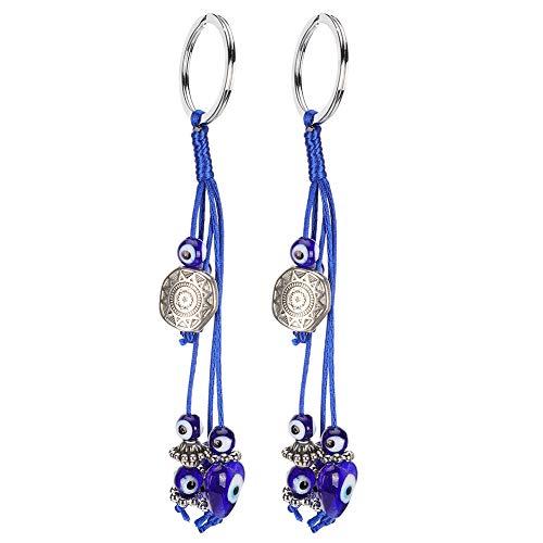 Fdit 2 Pezzi Blu malocchio Portachiavi Turco amuleto Ciondolo Fascino Portafortuna Protezione Nappa Gancio Gioielli Moda Accessori Auto Regalo