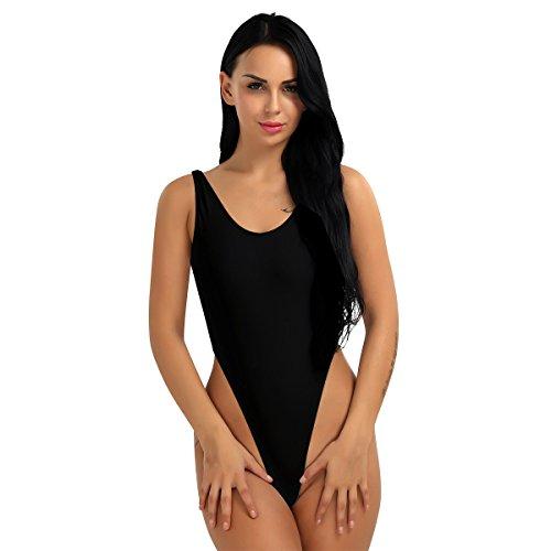 Freebily Women One Piece Bodysuit High Cut Swimsuit Thong Gymnastics Bodysuit Leotard Bikini Black One Size