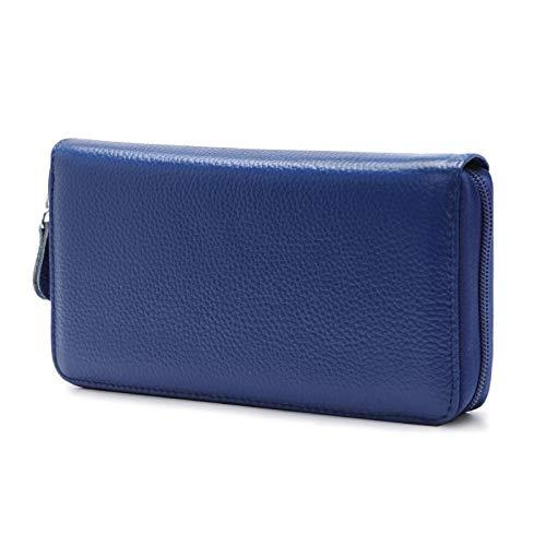 SonMo Geldbeutel Frauen Leder Brieftasche Lange Portemonnaie Damen Dünn mit Reißverschluss Portmonee Blau