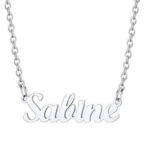 Sabine Joyería para Mujeres Acero Inoxidable 316L Collares Resistentes Metálicos con Letras de Nombres con Cadena Delgada Colgantes Modernos de Cuello para Femeninas