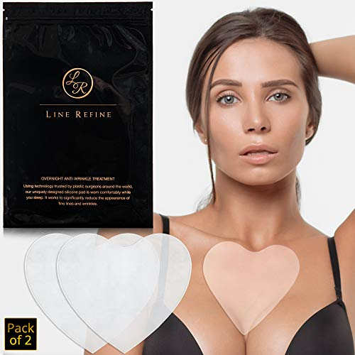 Anti Wrinkle Chest Pad Set by Line Refine   Premium Reusable Silicone Decollete Wrinkles Patches for Wrinkle Prevention   Chest Anti Aging Treatment to Get Rid of Chest Wrinkles