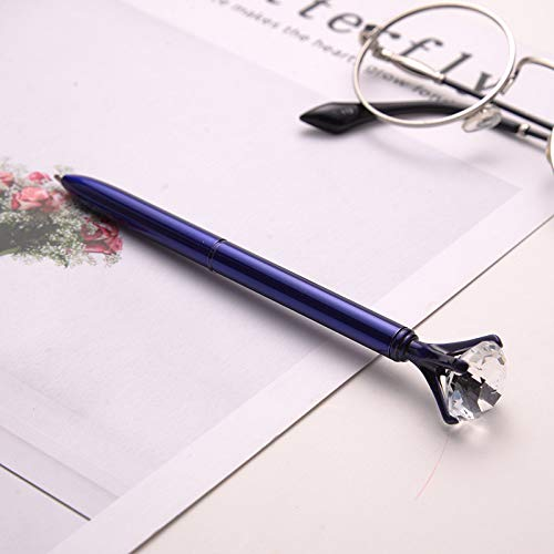 HAOXUE Balpen 1 Stks Hot Koop Grote Diamanten Kristallen Balpen 1 Mm Zwart Inkt Metaal Schrijven Pen voor Kids Gift School benodigdheden Paars