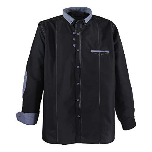 Lavecchia Schwarzes Langarmhemd Größe 7XL, Größe:5XL