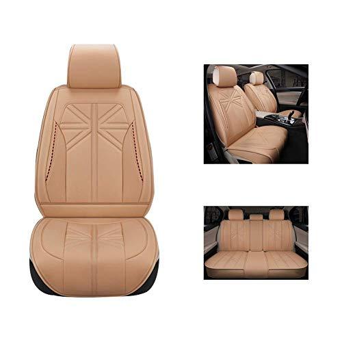ZGYQGOO Autositzkissen, New Rice Flag Pu-Leder-Sitzbezug, Vollverkleidetes Sitzkissen, Geeignet für Fünfsitzer, Beige