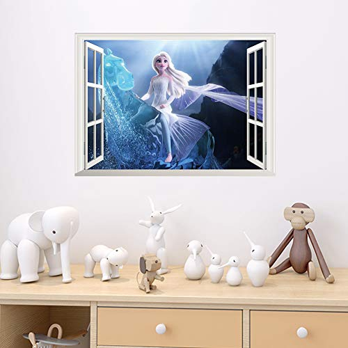 JUNZE Pegatinas de Pared tridimensionales 3D Princesa habitación de los niños Dormitorio Pegatinas de decoración de jardín de Infantes