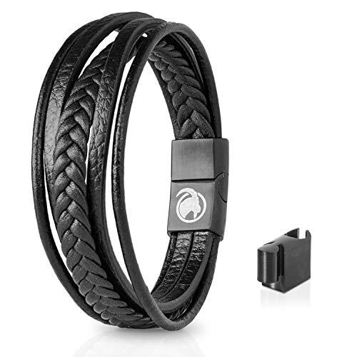 Steinbock7 Männer Lederarmband mit Magnetverschluss – Armband aus Leder in Geschenkbox (Schwarz), XL Länge 22 cm