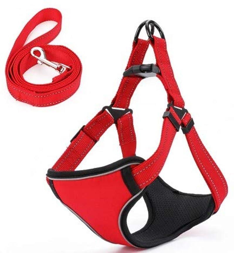 リビジョンペット主導権反射トラクションロープ犬の鎖犬の鎖を持つペットの胸部ストラップ小さな中型と大型の犬ペット (Color : Red)