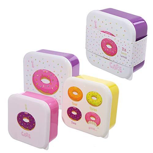 Contenitori Donut Lot de 3 récipients pour Aliments pour Bureau, école, Maternelle, Donut