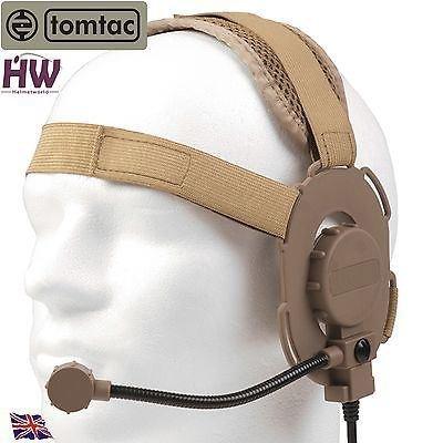 TOMTAC AIRSOFT BOWMAN EVO III 3 koptelefoon BOOM MIC TAN ZAND DE HELMET RADIO