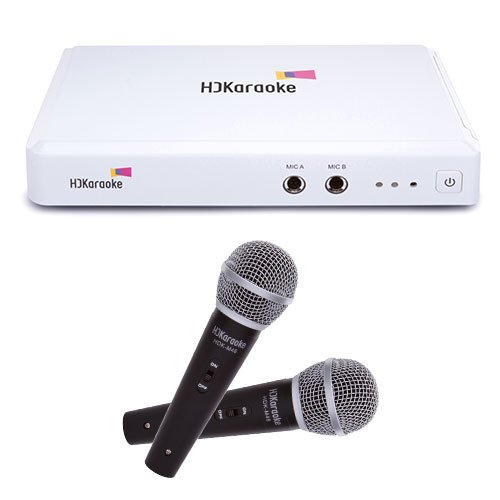 HDKaraoke HDK Box 2.0 Internet Enabled Karaoke Machine With 2 Mics, White