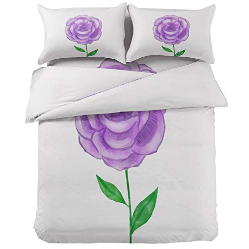 Purple Watercolor Flower 4-Pieces Duvet Cover Bed Set California King Ultra Soft Bed Quilted Coverlet Bedding Sheet with 2 Pillow Shams, Abstract Floral Pattern