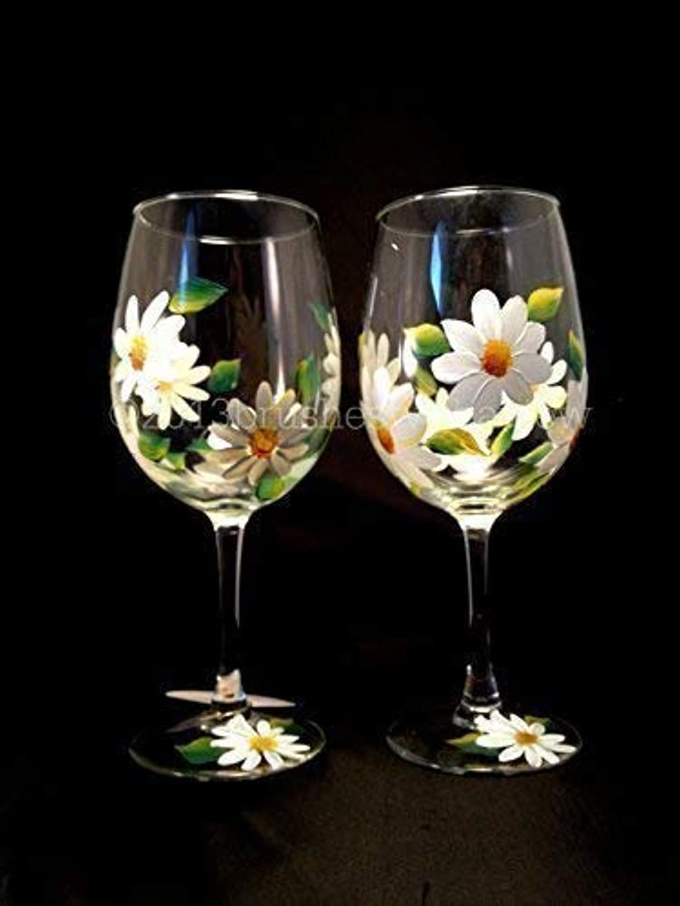 Handmade Flower Wine Glasses, Set of 2, Floral Wine Glasses, Hand Painted Wine Glasses, Perfect Mothers Day Gift for Mom or Wedding Party Favors