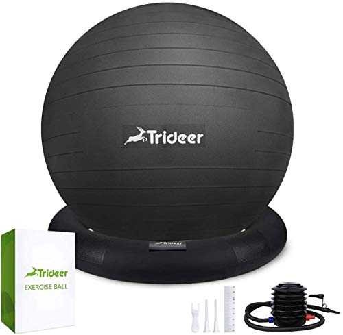 Trideer Ball Chair, Exercise Stability Yoga Ball with Base for Home and Office Desk, Ball Seat, Flexible Seating with Ring & Pump, Improves Balance, Back Pain, Core Strength & Posture