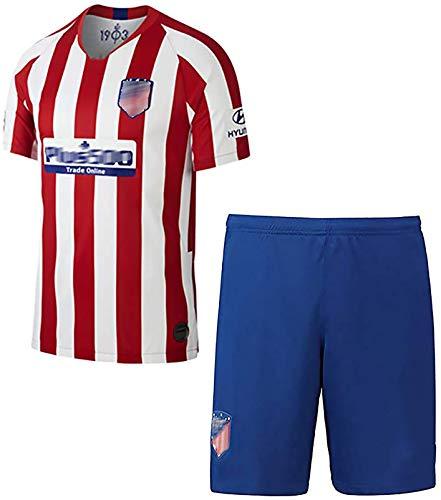 Kinderjugend Männer Fußballanzug Anzug 2019-2020 Saison Atletico Madrid Nr. 10 Correa Nr. 11 Lemar Nr. 19 Costa Trikot Heimtrikot rotes Fußball T-Shirt und Shorts Anzug Socken-red-26