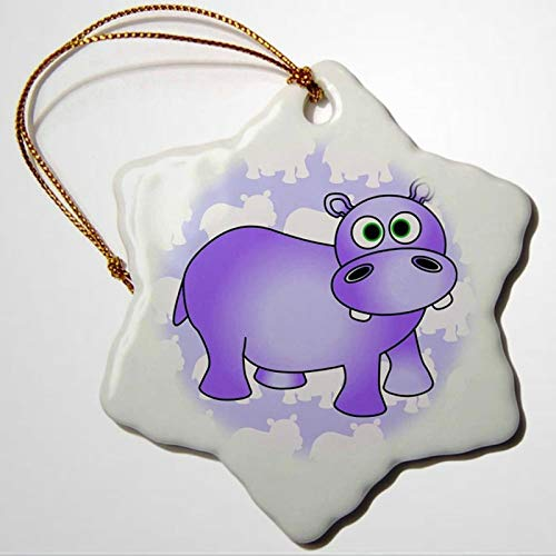 BYRON HOYLE Pretty Purple Hippopotamus Cute Hippo Snowflake Porcelain Ornament Christmas Ornaments Pandemic Xmas Decor Wedding Ornament Holiday Present