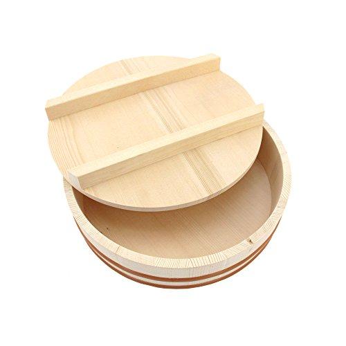 BambooMN, Hangiri-Schüssel mit Deckel für Sushi-Oke-Reiszubereitung, 1 Stück, holz, natur, 11.8-inch
