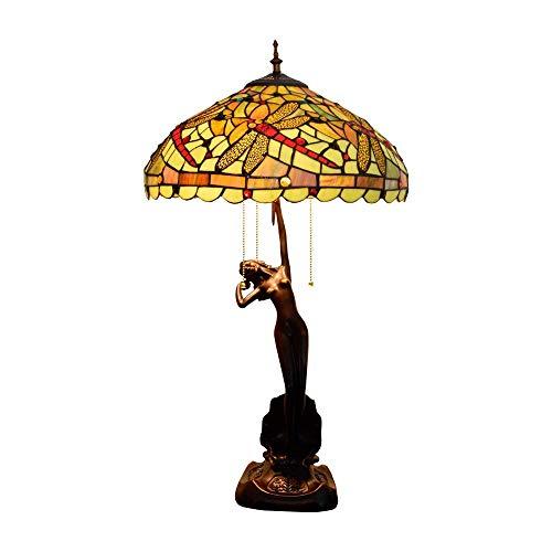 Busirsiz Tiffany Lámpara de Mesa de la libélula Amarillo lámpara de Mesa Sala Comedor Dormitorio lámpara de Mesa Hecha a Mano Diámetro 40 cm Altura 76 cm Estilo 3 x E27 zócalo Interior de Tiffany