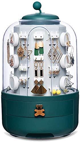 Caja organizadora giratoria de 360 ° 1/5 niveles para joyas, expositor, soporte para joyas, con tapa redonda transparente para almacenar 39 pequeñas joyas, pendientes, collares, pulseras y anillos.