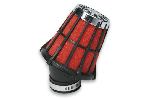 MALOSSI Rennluftfilter E5, gerade MIKUNI, Anschluss: 50mm, H 90mm schwarz, Innenfilter: rot,