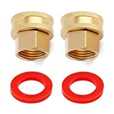 Litorange (2 Pack Industrial Metal Brass Garden Hose Threaded 3/4 to 1/2 NPT Fitting Connect, Green Thumb Quick Swivel Connector Adapter,Double Female Thread Size 3/4' x 1/2' NPT Pipe