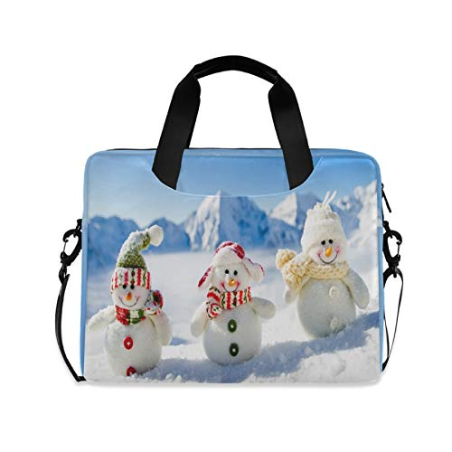 Christmas Snowman in Mountain 16 inch Laptop Shoulder Bag Travel Laptop Briefcase Carrying Messenger Bags