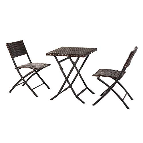 Mctere Folding Outdoor Patio Furniture Sets,3 Piece Patio Set of Foldable Patio Table and Chairs,Perfect for Decorating Your Yard, Poolside, Balcony, Patio,Etc (Brown)