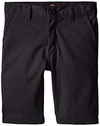 Dickies Khaki Big Boys' Slim Fit Stretch Flat Front Short, Black, 18