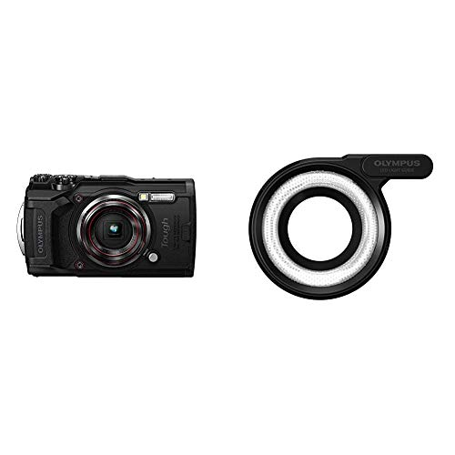 Olympus Tough TG-6 Actionkamera, 12 Megapixel Sensor, Digitale Bildstabilisierung, 4X-Weitwinkel-Zoom, 4k-Video, 120fps, Wi-Fi, schwarz & LG-1 LED Lichtleiteraufsatz
