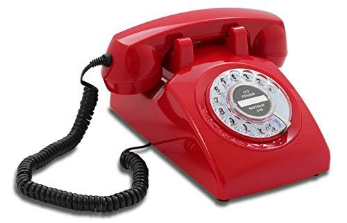 Opis 60s Cable: Klassisches Telefon der 60er und 70er mit schwarzem Deutsche Post Pappeinleger/Retro Telefon im sechziger Jahre Vintage Design mit Wählscheibe und Metallklingel (rot)