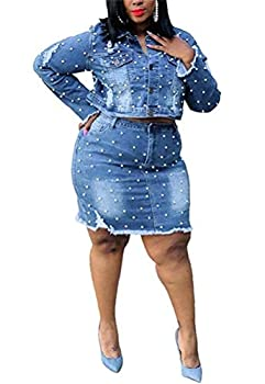 LKOUS Women 2 Piece Denim Skirt Set Pearl Ripped Long Sleeve Jacket Crop Top and Tight Jean Skirt Casual Dress Dark Blue