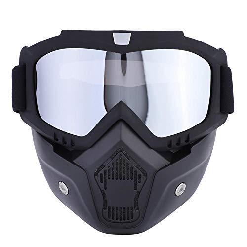 Máscara Deportiva de 5 Colores, esquí, Snowboard, Ciclismo, mascarilla con Gafas Desmontables(Anteojos Plateados)