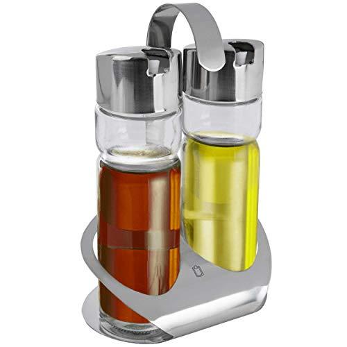METRO Professional Öl & Essig Spender | 19 cm | Menage | Edelstahl/Glas | je ca. 170 ml | Ölflasche | Essigflasche