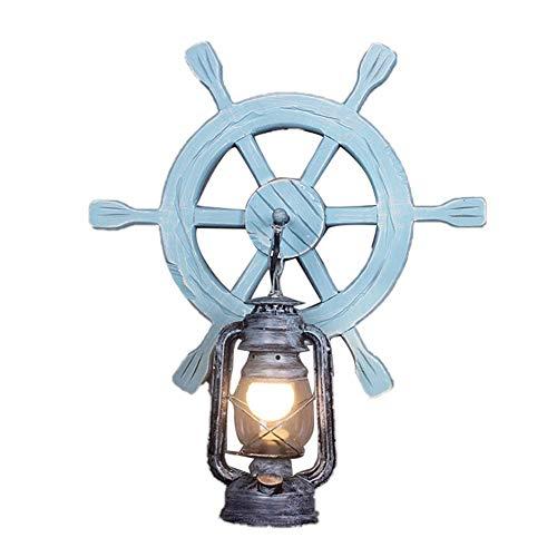 Retro Marine Stil Wandleuchte aus Holz E27 Petroleumlampe, Vintage Antike Loft Wandlampe Hölzerne Wandlichter Dekorative Beleuchtung für Restaurant/Teehaus/Korridor/Hotels/Bar/Cafe