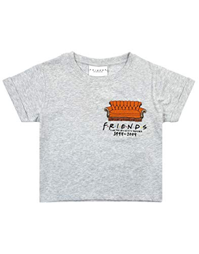 Friends Bordado Central Perk sofá de la Muchacha Recortada Camiseta Gris