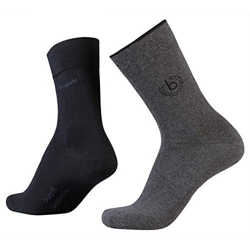 bugatti Mens Icon Socks 2er Pack 6762 620 anthracite anthrazit grau Strumpf Socke Doppelpack, Größe:39-42
